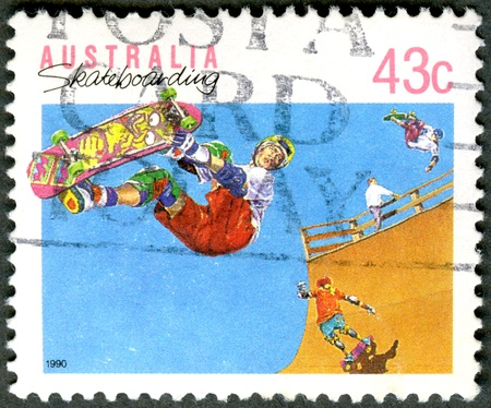 AUSTRALIA - CIRCA 1990: A stamp printed in Australia shows Skateboarding, series Sports, circa 1990 photo