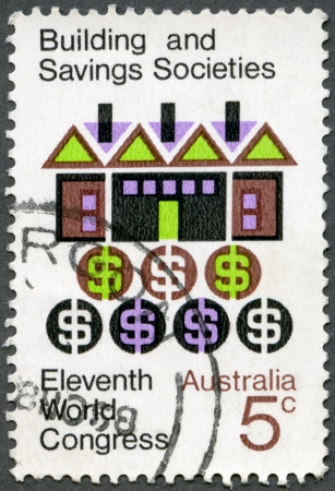 postal card: AUSTRALIA - CIRCA 1968: A stamp printed in Australia shows Symbolic House and Money, 11th Triennial Congress of the International Union of Building Societies and Savings Associations, Sydney, circa 1968