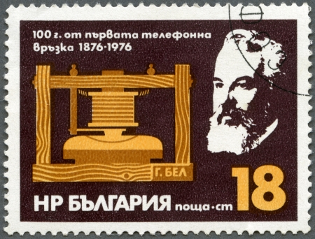 graham: BULGARIA - CIRCA 1976: A stamp printed in Bulgaria shows A. G. Bell and Telephone, Centenary of first telephone call by Alexander Graham Bell, Mar. 10, 1876, circa 1976