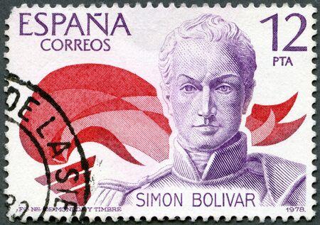 the liberator: SPAGNA - CIRCA 1978: Un timbro stampato in Spagna mostra Simon Bolivar (1783-1830), liberatore del Sud America, circa 1978
