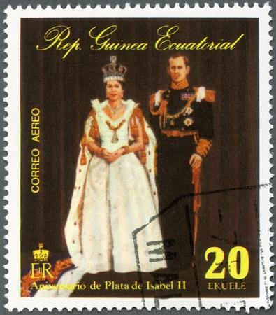 queen elizabeth ii: EQUATORIAL GUINEA - CIRCA 1978: A stamp printed in Equatorial Guinea shows Elizabeth II, Coronation, 25th  Anniversary, circa 1978