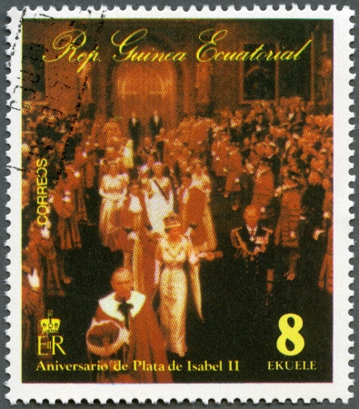 EQUATORIAL GUINEA - CIRCA 1978: A stamp printed in Equatorial Guinea shows Elizabeth II, Coronation, 25th  Anniversary, circa 1978 photo