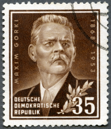 gorky: GERMANY - CIRCA 1953: A stamp printed in Germany shows Maxim Gorky (1868-1936), a Russian writer, circa 1953 Stock Photo