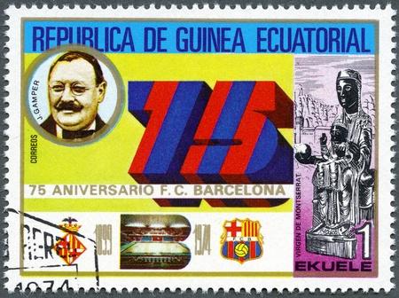 EQUATORIAL GUINEA - CIRCA 1974: A stamp printed in Equatorial Guinea shows Joan Gamper, Barcelona Soccer Team, 75th anniversary, circa 1974 photo