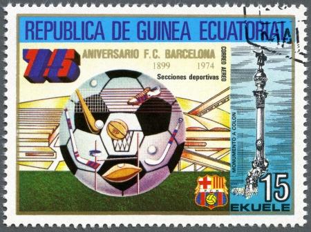 EQUATORIAL GUINEA - CIRCA 1974: A stamp printed in Equatorial Guinea shows football, Barcelona Soccer Team, 75th anniversary, circa 1974 photo