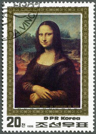 mona lisa: NORTH KOREA - CIRCA 1986: A stamp printed in DPR Korea shows Mona Lisa by Leonardo da Vinci, circa 1986