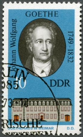 GERMANY - CIRCA 1973: A stamp printed in Germany shows Goethe (1749-1832) and his Home in Weimar, circa 1973 Stock Photo - 14242788