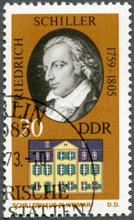 GERMANY - CIRCA 1973: A stamp printed in Germany shows Friedrich von Schiller (1759-1805) and his Home in Weimar, circa 1973