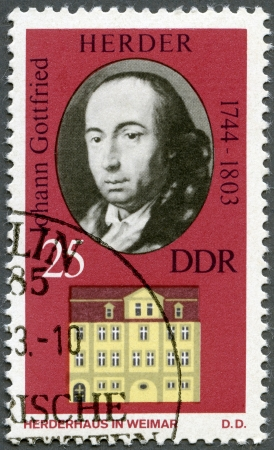 herder: GERMANY - CIRCA 1973: A stamp printed in Germany shows Johann Gottfried Herder (1744-1803) and his Home in Weimar, circa 1973