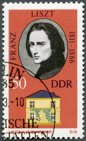liszt: GERMANY - CIRCA 1973: A stamp printed in Germany shows Franz Liszt (1811-1886) and his Home in Weimar, circa 1973 Editorial