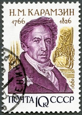historians: URSS - CIRCA 1991: Un timbro stampato in URSS mostra Nikolay Michajlovic Karamzin (1766-1826), storici della serie russi, circa 1991
