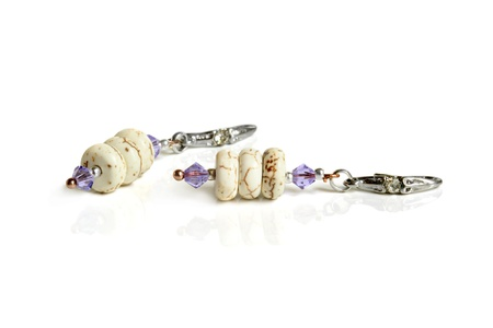 bead jewelry: Earrings on a white background