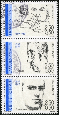 essayist: FRANCE - CIRCA 1991: A stamp printed in France shows Poets: Francis Ponge (1899-1988), Jacques Prevert (1900-1977), Rene Char (1907-1988), circa 1991 Editorial