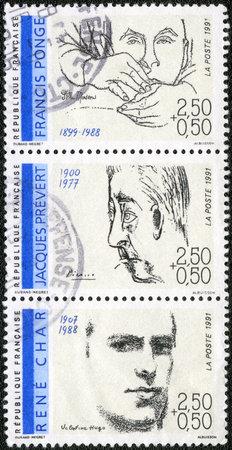 screenwriter: FRANCIA - CIRCA 1991: Un timbro stampato in Francia mostra Poeti: Francis Ponge (1899-1988), Jacques Prevert (1900-1977), Ren� Char (1907-1988), circa 1991