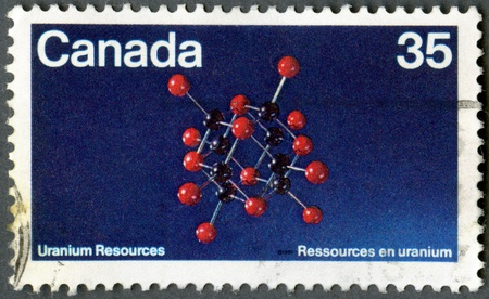 CANADA - CIRCA 1980: A stamp printed in Canada shows Uraninite Molecular Structure, Discovery of uranium in Canada, 80th anniversary, circa 1980