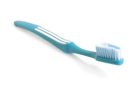 tooth brush: Blue tooth-brush on a white background