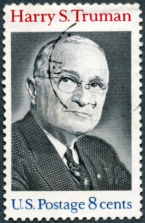 united states postal service: USA - CIRCA 1973 : A stamp printed in USA shows Harry S.Truman, 33rd President (1884-1972), circa 1973