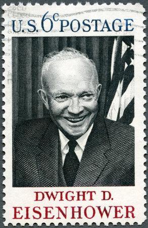USA - CIRCA 1969 : A stamp printed in USA shows Dwight D. Eisenhower, 34rd President (1890-1969), circa 1969