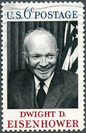 united states postal service: USA - CIRCA 1969 : A stamp printed in USA shows Dwight D. Eisenhower, 34rd President (1890-1969), circa 1969