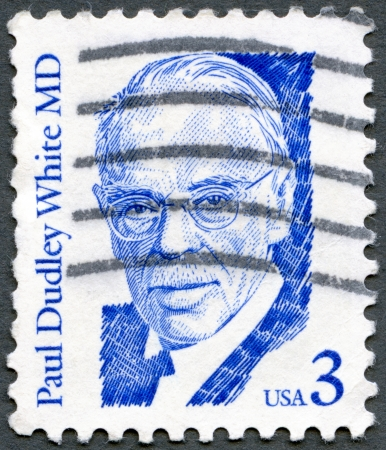 USA - CIRCA 1986: stamp printed by USA shows Paul Dudley White (1886-1973), cardiologist, series Great Americans, circa 1986 Stock Photo - 14443354