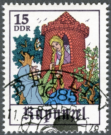 rapunzel: GERMANY - CIRCA 1978: A stamp printed in Germany shows Scene from fairy tale  Editorial