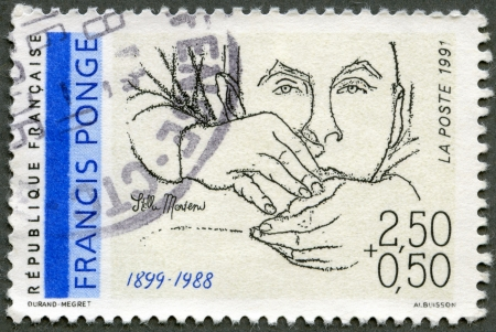 frence: FRANCE - CIRCA 1991: A stamp printed in France shows portrait of Francis Ponge (1899-1988) by Stella Mertens, series Poets, circa 1991