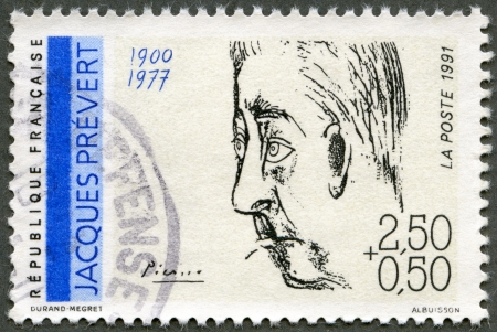 FRANCE - CIRCA 1991: A stamp printed in France shows portrait of Jacques Prevert (1900-1977) by Pablo Picasso, series Poets, circa 1991