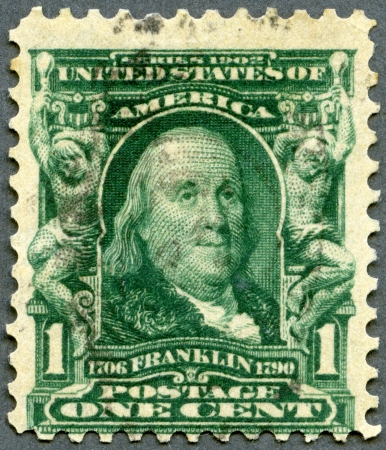 the franklin: USA - CIRCA 1903: A stamp printed in USA shows portrait of Benjamin Franklin (1706-1790), circa 1903