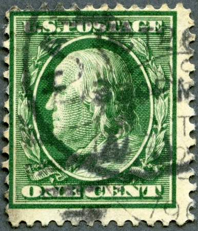 postmaster: USA - CIRCA 1908: A stamp printed in USA shows portrait of Benjamin Franklin (1706-1790), circa 1908