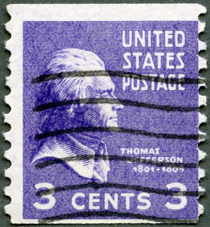 united states postal service: USA - CIRCA 1938: A stamp printed in USA shows President Thomas Jefferson (1801-1809), circa 1938