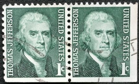 USA - CIRCA 1965: A stamp printed in USA shows President Thomas Jefferson (1801-1809), series Prominent Americans Issue, circa 1965