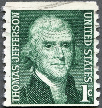 united states postal service: USA - CIRCA 1965: A stamp printed in USA shows President Thomas Jefferson (1801-1809), series Prominent Americans Issue, circa 1965