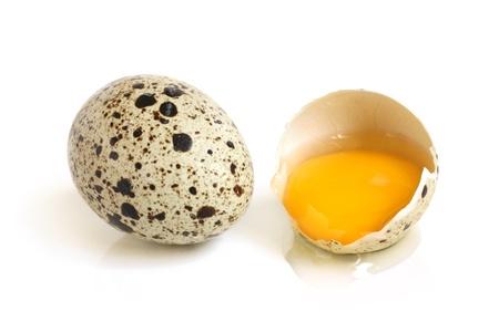quaglia: Uova di quaglia su uno sfondo bianco