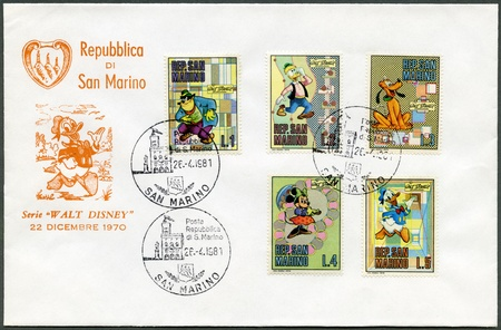 minnie mouse: SAN MARINO - CIRCA 1970: A stamps printed in San Marino shows Disney Characters: Black Pete, Gyro Gearloose, Pluto, Minnie Mouse, Donald Duck, circa 1970 Editorial