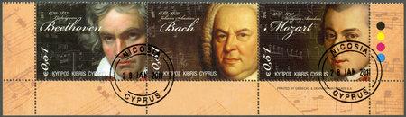 CYPRUS - CIRCA 2011 : A stamp printed in Cyprus shows Ludwig van Beethoven (1770-1827), Johann Sebastian Bach(1685-1750) and Wolfgang Amadeus Mozart (1756-1791)circa 2011