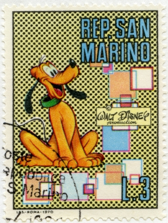 disney: SAN MARINO - CIRCA 1970: A stamps printed in San Marino shows Pluto, series Disney Characters, circa 1970