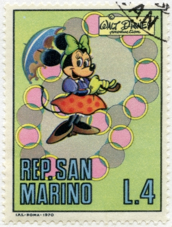 disney: SAN MARINO - CIRCA 1970: A stamps printed in San Marino shows Minnie Mouse, series Disney Characters, circa 1970 Editorial