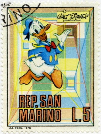 donald: SAN MARINO - CIRCA 1970: A stamps printed in San Marino shows Donald Duck, series Disney Characters, circa 1970 Editorial