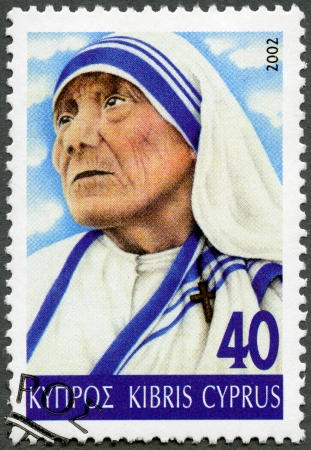 calcutta: CYPRUS - CIRCA 2002: A stamp printed in Cyprus shows portrait of Mother Teresa (1910-1997), circa 2002 Editorial