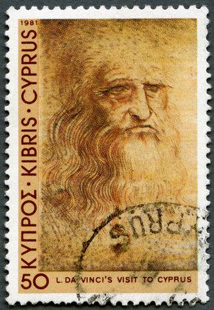 leonardo da vinci: CYPRUS - CIRCA 1981: A stamp printed in Cyprus shows Self-portrait, by Leonardo Da Vinci, Da Vinci's visit to Cyprus, 500th anniversary, circa 1981