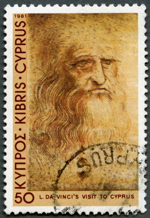 da vinci: CYPRUS - CIRCA 1981: A stamp printed in Cyprus shows Self-portrait, by Leonardo Da Vinci, Da Vinci's visit to Cyprus, 500th anniversary, circa 1981