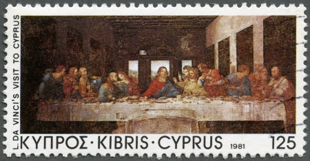 supper: CYPRUS - CIRCA 1981  A stamp printed in Cyprus shows  The Last Supper , by Da Vinci, Da Vinci's visit to Cyprus, 500th anniversary, circa 1981 Editorial