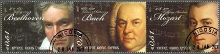 amadeus mozart: CHIPRE - CIRCA 2011: Un sello impreso en Chipre muestra Ludwig van Beethoven (1770-1827), Johann Sebastian Bach (1685-1750) y Wolfgang Amadeus Mozart (1756-1791), alrededor del a�o 2011
