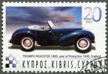 CYPRUS - CIRCA 2003 : A stamp printed in Cyprus shows Triumph Roadster 1800, year of production 1946, England, series Antique Automobiles, circa 2003