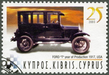ford: CYPRUS - CIRCA 2003 : A stamp printed in Cyprus shows Ford Model T, year of production 1917, USA, series Antique Automobiles, circa 2003