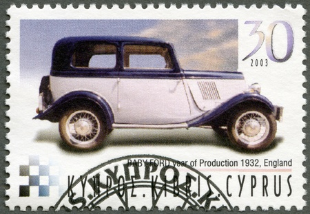 CYPRUS - CIRCA 2003 : A stamp printed in Cyprus shows Baby Ford, year of production 1932, England, series Antique Automobiles, circa 2003
