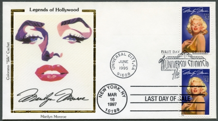 USA - CIRCA 1995: Ein Stempel gedruckt in USA zeigt Marilyn Monroe (1926-1962), Serie Legends of Hollywood, circa 1995