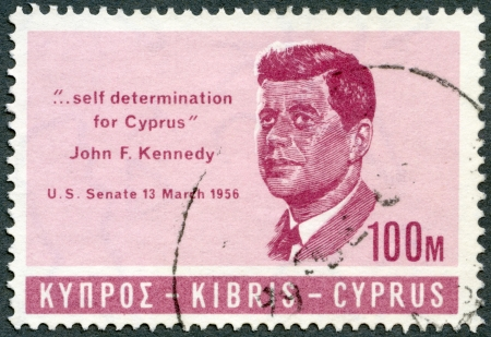 CYPRUS - CIRCA 1965: A stamp printed in Cyprus shows president John F. Kennedy (1917-1963), citation from his speech in US Senate 13 march 1956  Editorial