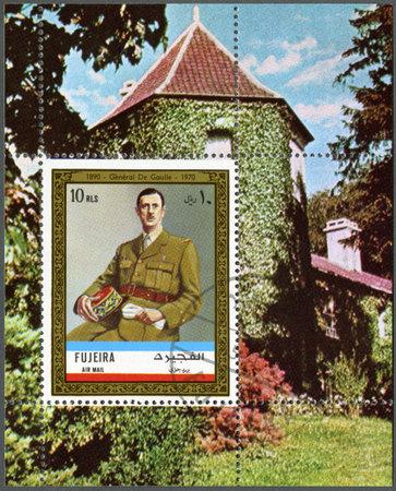 gaulle: FUJAIRAH - CIRCA 1972: A stamp printed in Fujairah shows Charles de Gaulle  (1890-1970), circa 1972