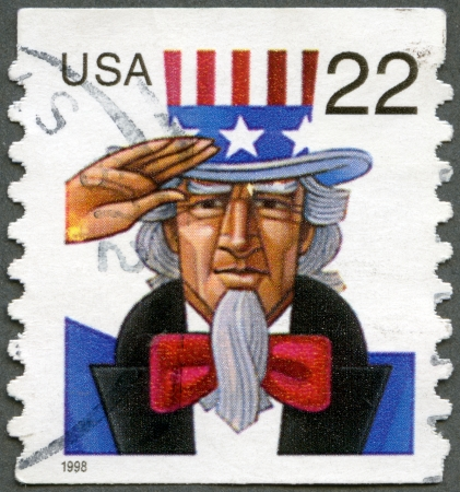 UNITED STATES - CIRCA 1998: A stamp printed in USA shows Uncle Sam, circa 1998